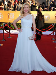 Angela Kinsey wore a Grecian-inspired chiffon gown to the SAG Awards.