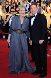 Meryl Streep wore a smoky blue evening dress to the SAG Awards.