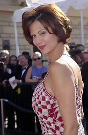 Catherine Bell added some waves to her bob for a glamorous finish to her Creative Arts Awards look.