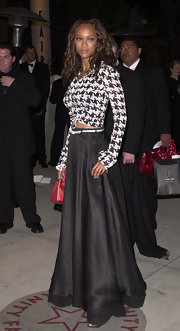 Tyra was creative at the Vanity Fair Oscar party in this herringbone button-up and ball skirt.