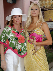 Kathy Hilton topped off her festive ensemble at the LA Gay Pride Parade with a white straw hat.