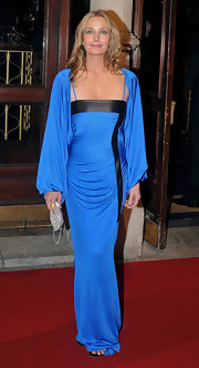 Bo Derek accentuated her curves with a blue and black evening dress at the Irish Film and Television Awards.