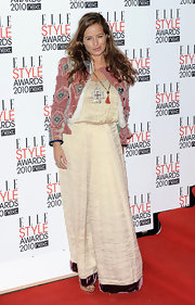 Jade Jagger served it up at the Elle Style Awards in this ultra-luxe maxi dress.