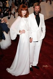 Florence Welch looked angelic in a white chiffon evening gown at the Met Costume Gala.