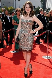 Alison simply sparkled in a sequined cocktail dress at the Emmys. She finished off the look with platform pumps.