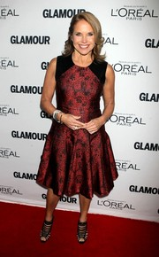 Katie Couric teamed black strappy sandals with her dress for a sexy finish.