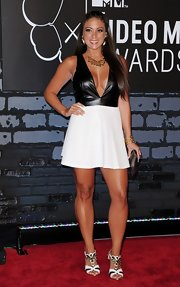 Sammi opted for a black-and-white look at the VMAs when she donned a leather halter dress with a flared skirt.