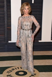 Jane Fonda made a fierce fashion statement in an embellished jumpsuit by Zuhair Murad Couture during the Vanity Fair Oscar party.