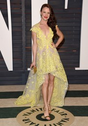 Juliette Lewis was a drop of sunshine in her embroidered yellow fishtail dress at the Vanity Fair Oscar party.