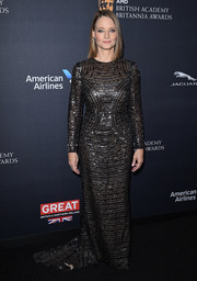 Jodie Foster cut an elegant figure in a patterned black fishtail gown by Burberry at the 2016 BAFTA Britannia Awards.