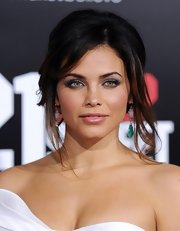 Jenna Dewan-Tatum wore her hair in a casual bobby-pinned updo with side-swept bangs and few loose tendrils at the premiere of '21 Jump Street.'