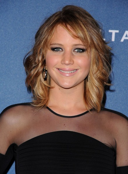 More Pics of Jennifer Lawrence Medium Wavy Cut with Bangs (2 of 18) - Jennifer Lawrence Lookbook - StyleBistro