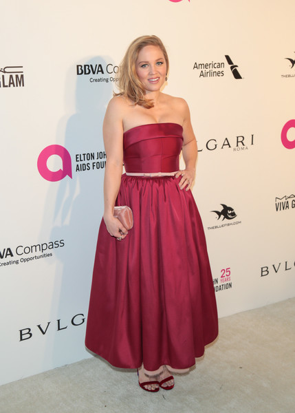 Erika Christensen charmed in a strapless, fit-and-flare raspberry gown at the Elton John AIDS Foundation Oscar-viewing party.