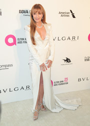 Jane Seymour chose a deep-V white fishtail gown by Rubin Singer for the Elton John AIDS Foundation Oscar-viewing party.