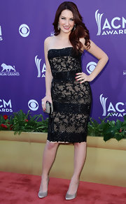 Katie Armiger looked classic in this strapless black beaded dress for the Academy of Country Music Awards.