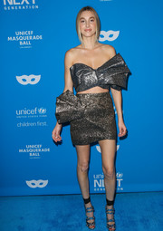 Whitney Port got all glitzed up in a strapless silver bow crop-top by Milin for the UNICEF Masquerade Ball.