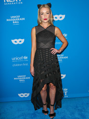 Katrina Bowden dressed up as a chic cat in a striped black fishtail frock by BCBG Max Azria for the UNICEF Masquerade Ball.