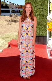 Ahna O'Reilly's colorful graphic-print maxi dress at the Veuve Clicquot Polo Classic had a chic retro feel.