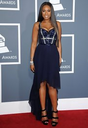 Jennifer Hudson sizzled on the red carpet at the Grammys in strappy black patent platform sandals.