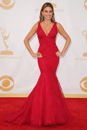 True to her sexy style, Sofia flaunted a red, structured, mermaid gown with lace applique detailing.