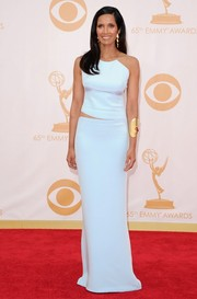 Padma kept it simple in a soft blue fitted gown with a side cutout.