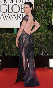Who would have thought we'd see one of the most provocative looks of the evening on Julianna? This backless sheer design was to die for.
