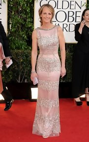 Helen Hunt made her figure look statuesque at the Golden Globes in this beaded dress with a tulle overlay.
