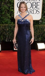 Jodie Foster was heavily beaded in this reflective midnight blue gown at the Golden Globe Awards.