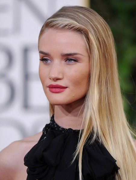 More Pics of Rosie Huntington-Whiteley Long Side Part (6 of 16) - Long Hairstyles Lookbook - StyleBistro