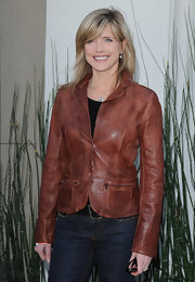 This fitted tan leather jacket added a touch of cool to Courtney Thorne-Smith's denim look at a benefit in LA.