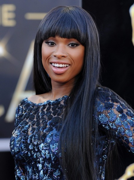 More Pics of Jennifer Hudson Long Straight Cut with Bangs (2 of 16) - Jennifer Hudson Lookbook - StyleBistro