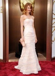 Laura Dern opted for a white strapless gown by Alberta Ferretti for her Oscars red carpet look.