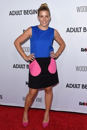 Busy Philipps looked adorably mod in a tricolor shift dress during the premiere of 'Adult Beginners.'