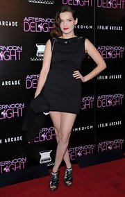 Roxane Mesquida chose a sleeveless LBD with a jeweled neckline for her look at the red carpet premiere of 'Afternoon Delight.'
