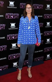 Mary cuffed her skinny jeans for a more casual red carpet look.