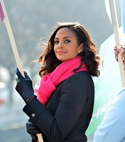 Alesha Dixon kept warm with a pair of black leather gloves while leading the Walk of Hope.