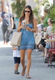 Alessandra Ambrosio ran errands looking airy in a printed blue mini dress by Gypsy 05.