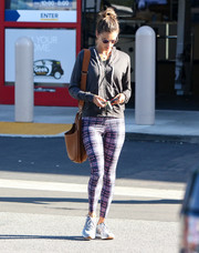 Alessandra Ambrosio chose a pair of printed leggings to complete her outfit.