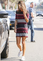 Alessandra Ambrosio kept it relaxed yet stylish in a striped sweater dress by Sanctuary while out in LA.
