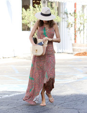 Alessandra Ambrosio was spotted out in LA looking boho in a paisley-print maxi dress with a lace-up neckline.