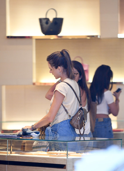 Alessandra Ambrosio went shopping in Los Angeles carrying a cute Chloe backpack.