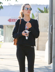 Alessandra Ambrosio looked cool in her mirrored aviators while out in LA.