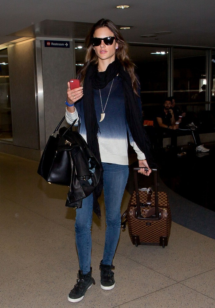 .Alessandra Ambrosio is seen arriving at LAX airport .