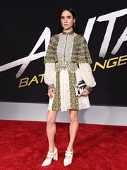 Jennifer Connelly donned a Louis Vuitton cold-shoulder dress with floral panels and a studded bodice for the premiere of 'Alita: Battle Angel.'