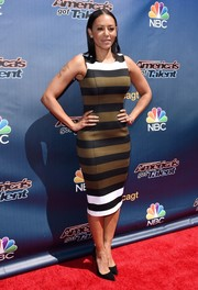 Melanie Brown sported bold tricolor stripes on the 'America's Got Talent' season 10 red carpet.