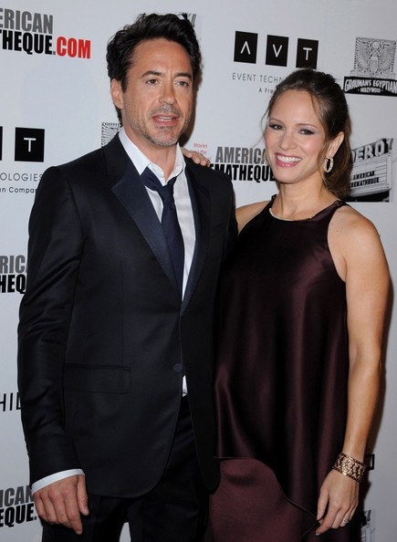 Susan Downey complemented her simple dress with an ornate gold cuff bracelet at the American Cinematheque Award.