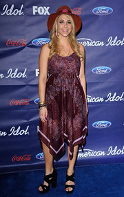 Elise Testone wore this handkerchief print dress to the American Idol Finalists Party.