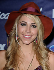 Elise Testone wore this burnt orange hat with her print dress to the American Idol Finalists Party.