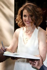Amy Brenneman wore her curly locks in a bouncy bob for an appearance on 'Live! With Kelly.'