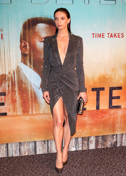 Angela Sarafyan Wrap Dress [season,fashion model,flooring,shoulder,leg,fashion,carpet,outerwear,joint,thigh,long hair,angela sarafyan,red carpet,celebrity,carpet,los angeles,california,premiere of hbo,directors guild of america,true detective,celebrity,red carpet,socialite,supermodel,shoulder,thigh,carpet]